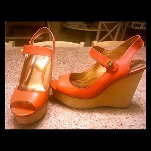 Coach wedges in tangerine size 7